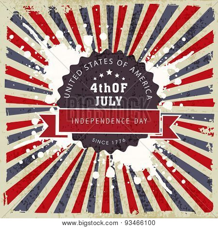 Grungy poster, banner or flyer design for 4th of July, American Independence Day celebration on national flag colors rays background..