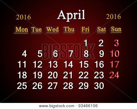 Calendar On April Of 2016 On Claret