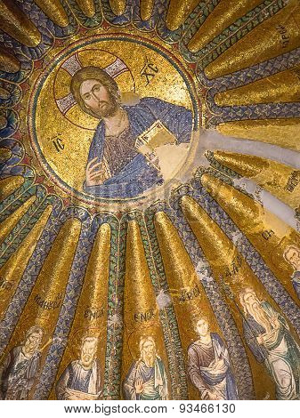 ISTANBUL - MAY 3: Church of the Holy Saviour in Chora (Kariye camii) on Mal 3, 2015 in Istanbul,Turkey. Mosaic completed by unknown artist around 1320 is best known sample of byzantine mosaic artwork.
