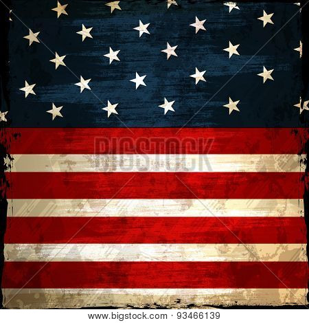Grungy American national flag design for 4th of July, Independence Day celebration.
