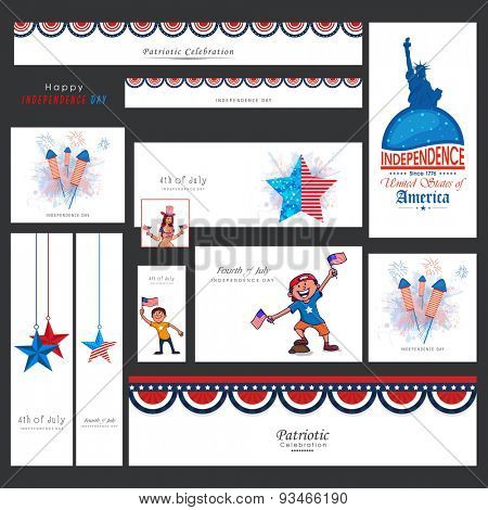 Creative social media and marketing web headers, ads, post or banners for 4th of July, American Independence Day celebration.