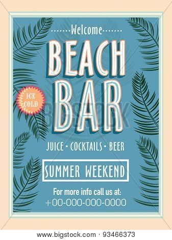 Vintage Beach Bar template, banner or flyer design for summer weekend.