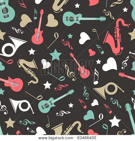 Musical instrument with musical notes in different color on black background.