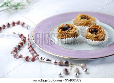 Fine quality Baklawa with muslim prayer beads. Ramadhan special food.