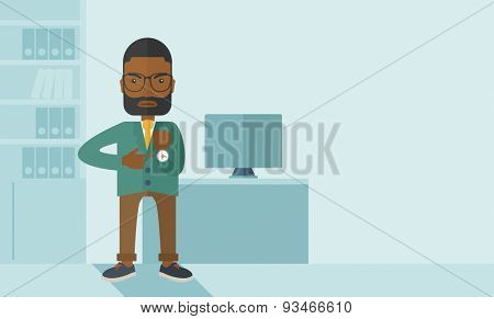 The black manager is angry pointing finger to his wristwatch showing the time that is already late for the employees to arrive. Late concept. A contemporary style with pastel palette soft blue tinted