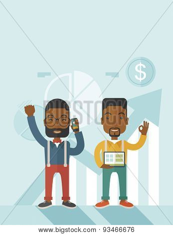 A two cheerful african businessmen with arms up high enjoying their success shown in the graph at their back. A contemporary style with pastel palette soft blue tinted background. Vector flat design