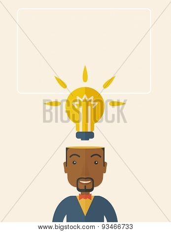 A black businessman has a bright idea for marketing strategy with a bulb on his head. Human intelligence concept. A Contemporary style with pastel palette, soft beige tinted background. Vector flat