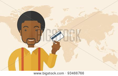 A happy african businessman thankfully standing holding his credit card. Fulfillment concept. A Contemporary style with pastel palette, soft beige tinted background. Vector flat design illustration