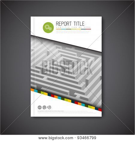 Modern Vector abstract brochure, report or flyer design template with maze / labyrinth
