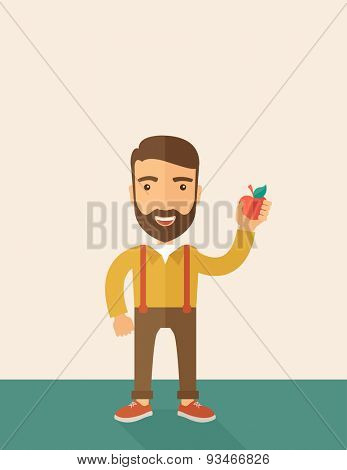 A happy caucasian businessman standing raising his arm while holding a red apple.  The concept of success and good idea. A Contemporary style with pastel palette, soft beige tinted background. Vector