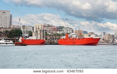 Ships at berths in the port of Vladivostok, Russia.