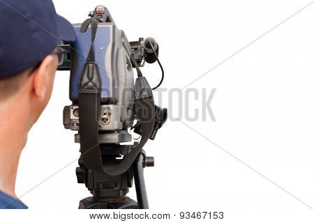 Operator works with a video camera. Isolated on white background.