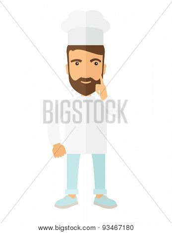 A caucasian worker trying to cook for dinner in his kitchen while looking at the cook book as his guide. Learning concept. A Contemporary style. Vector flat design illustration isolated white