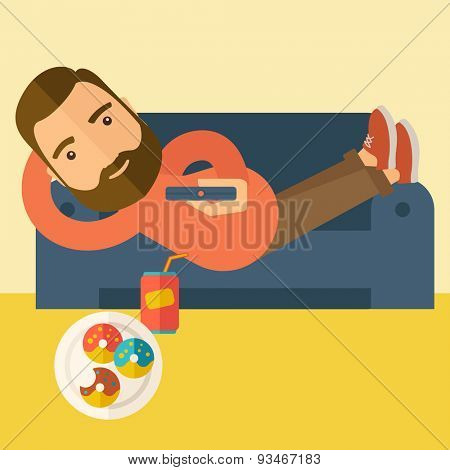 A man lying in the sofa holding a remote with three donuts and soda on the floor. Relaxing concept. A Contemporary style with pastel palette, soft beige tinted background. Vector flat design
