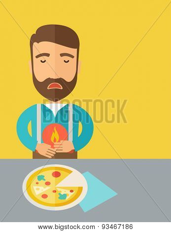 A sick man has a stomach burn or Abdominal pain after he ate a slice of pizza. A Contemporary style with pastel palette, a yellow tinted background. Vector flat design illustration. Vertical layout