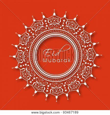 Beautiful creative floral design decorated frame on orange background for Muslim community festival, Eid Mubarak celebration.