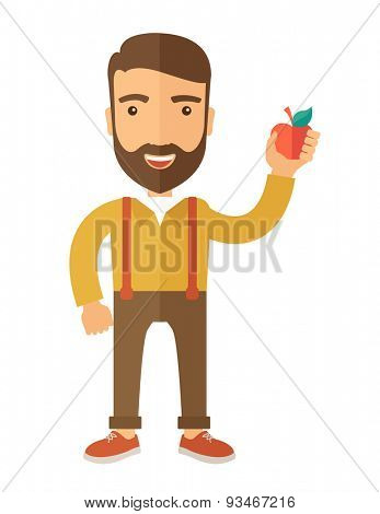 A happy caucasian businessman standing raising his arm while holding a red apple.  The concept of success and good idea. A Contemporary style. Vector flat design illustration isolated white background