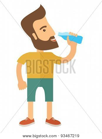A hipster gentleman drink a bottle of energy drink. Healthy, fitness concept. A Contemporary style. Vector flat design illustration isolated white background. Vertical layout.