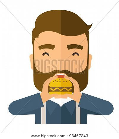 A happy Hipster office man eating hamburger as his snack break. Relaxing concept. A Contemporary style. Vector flat design illustration isolated white background. Square layout.