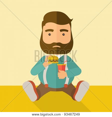 A fat man sitting on the floor while eating hamburger and soda for his drink. Food concept. A Contemporary style with pastel palette, soft beige tinted background. Vector flat design illustration