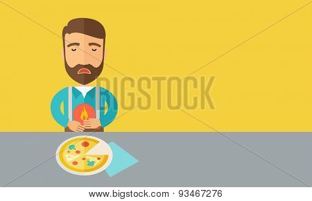 A sick man has a stomach burn or Abdominal pain after he ate a slice of pizza. A Contemporary style with pastel palette, a yellow tinted background. Vector flat design illustration. Horizontal layout