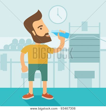 A hipster gentleman drink a bottle of energy drink before he start to exercise inside the gym. Healthy, fitness concept. A contemporary style with pastel palette soft blue tinted background. Vector