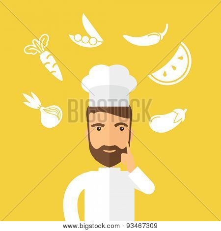 A caucasian worker trying to cook for dinner in his kitchen while looking at the cook book as his guide. Learning concept. A Contemporary style with pastel palette, Yellow background. Vector flat