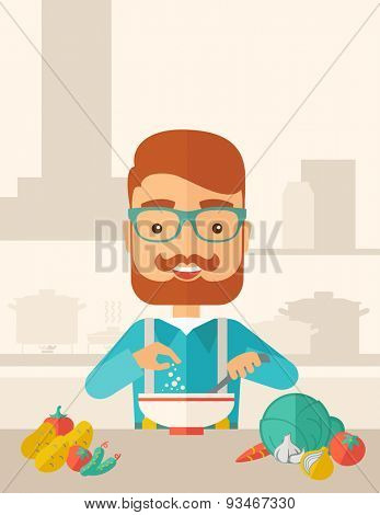 A Young caucasian with beard is happy eating salad for lunch with some vegetables on the table. A Contemporary style with pastel palette, soft beige tinted background. Vector flat design illustration
