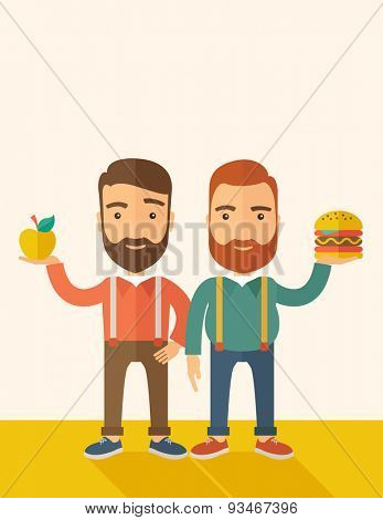 A two businessmen standing and comparing Apple to hamburger of which is healthy food. A Contemporary style with pastel palette, soft beige tinted background. Vector flat design illustration. Vertical