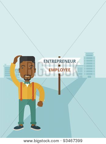 A black guy confused standing while scratching his head having a problem, confused whether enterpreneur or employee. A contemporary style with pastel palette soft blue tinted background. Vector flat