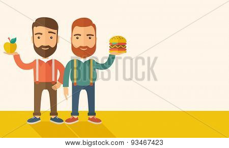 A two businessmen standing and comparing Apple to hamburger of which is healthy food. A Contemporary style with pastel palette, soft beige tinted background. Vector flat design illustration