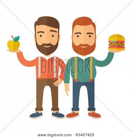 A two businessmen standing and comparing Apple to hamburger of which is healthy food. A Contemporary style with pastel palette, soft beige tinted background. Vector flat design illustration. Square