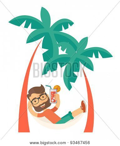 A young caucasian on the beach relaxing and drinking cocktail under the heat of the sun with two coconut tree. A Contemporary style. Vector flat design illustration isolated white background. Vertical