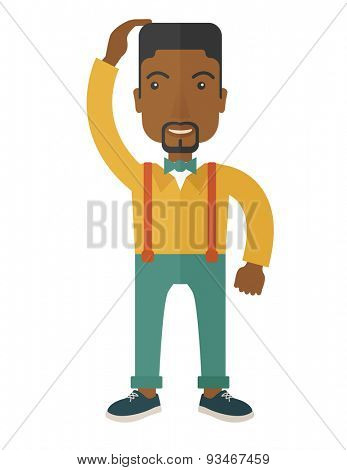 A black guy confused standing while scratching his head having a problem. A contemporary style with pastel palette soft blue tinted background. Vector flat design illustration. Vertical layout with