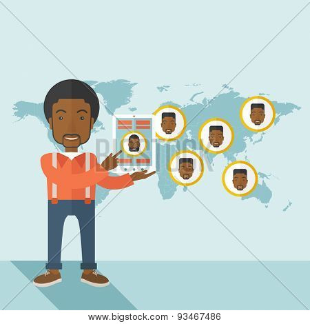 An african identification, face in world map in every destinations.  A contemporary style with pastel palette soft blue tinted background. Vector flat design illustration. Square layout.