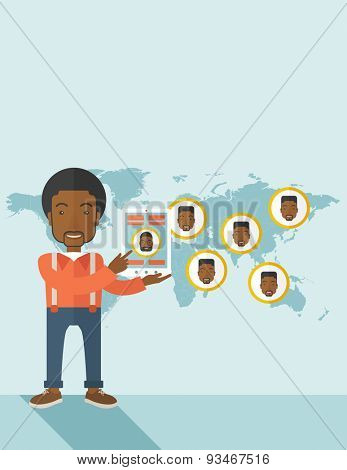 An african identification, face in world map in every destinations.  A contemporary style with pastel palette soft blue tinted background. Vector flat design illustration. Vertical layout with text