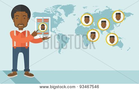 An african identification, face in world map in every destinations.  A contemporary style with pastel palette soft blue tinted background. Vector flat design illustration. Horizaontal layout.