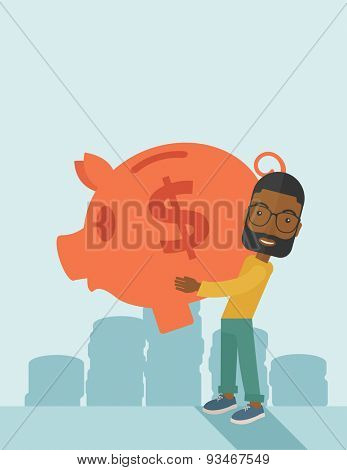 African Businessman carries on his two arms his big piggy bank for economy purposes saving money is very important. Investment concept. A contemporary style with pastel palette soft blue tinted