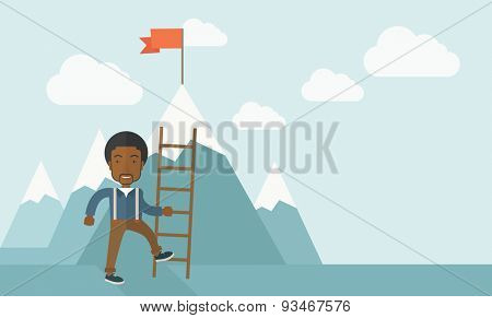 An african businessman standing while holding the career ladder getting the red flag a step to reach his goal to be a successful businessman. Leadership concept. A contemporary style with pastel