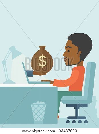 African Businessman sitting infront of his table working at a laptop searching and browsing with bag of money on hand inside the office. Business concept. A contemporary style with pastel palette soft