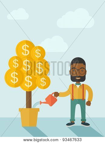 An african businessma standing while happily watering a money tree growing bigger in a pot as a sign of his success in business. Hardworking concept. A contemporary style with pastel palette soft blue
