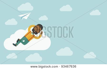 A black man is relaxing while lying on a cloud with paper plane. A contemporary style with pastel palette soft blue tinted background with desaturated clouds. Vector flat design illustration