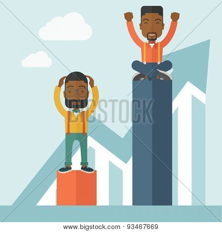 A two african-american businessmen. Man on top is happy while sitting and man in bottom is sad while standing. Rivalry concept. A contemporary style with pastel palette soft blue tinted background