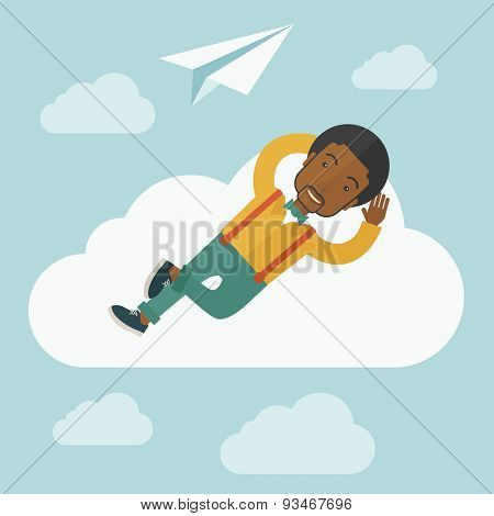 A black man is relaxing while lying on a cloud with paper plane. A contemporary style with pastel palette soft blue tinted background with desaturated clouds. Vector flat design illustration. Square
