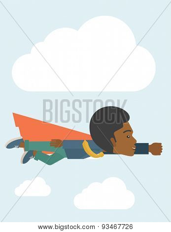 A superhero black businessman flying high to achieve his goal. Challenge concept. A Contemporary style with pastel palette, soft blue tinted background with disaturated clouds. Vector flat design
