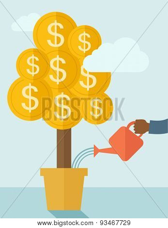 A human hand holding a can watering the money tree to grow bigger. Hardworking concept. A contemporary style with pastel palette soft blue tinted background with desaturated clouds. Vector flat design
