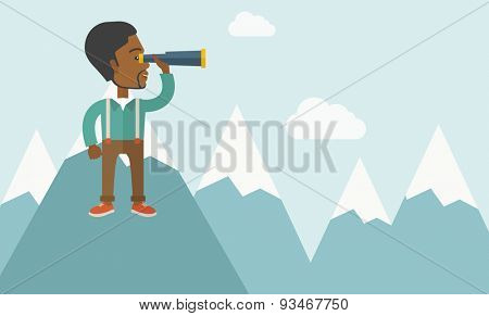 A black businessman holding telescope on the top of blue mountain with snow trying to get ideas on the sky. A contemporary style with pastel palette soft blue tinted background with desaturated clouds