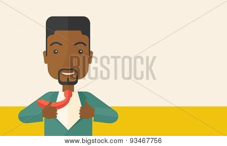 A happy working african man want to change his clothes as to change his position in the company. Successful concept. A Contemporary style with pastel palette, soft beige tinted background. Vector flat