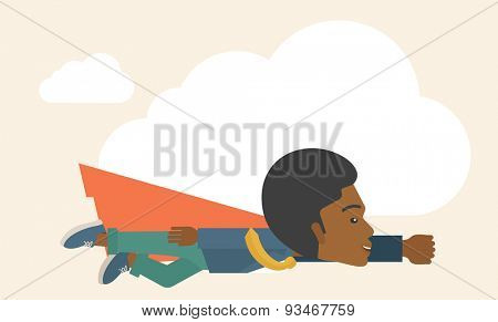 A superhero black businessman flying high to achieve his goal. Challenge concept. A Contemporary style with pastel palette, soft beige tinted background. Vector flat design illustration. Horizontal