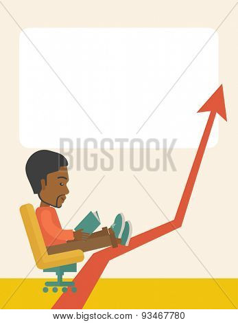 A Black guy sitting, relaxing in increasing business. Progress business concept. A Contemporary style with pastel palette, soft beige tinted background. Vector flat design illustration. Vertical